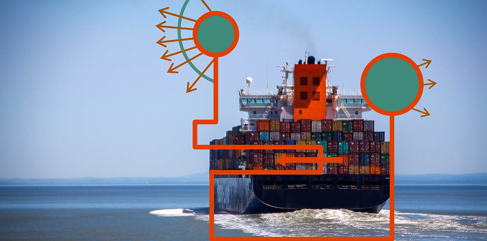 A cargo ship sailing away on the sea with an interpretation of the logo superimposed on the image.
