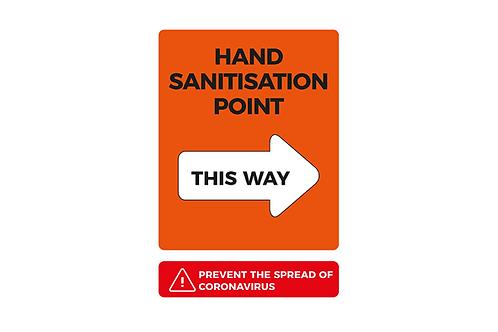 Hands Sanitisation Point This Way Interior Poster - From 28p ex VAT