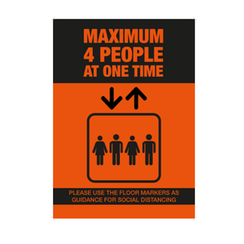 Maximum 4 People in Lift Poster - From £1.11 ex VAT