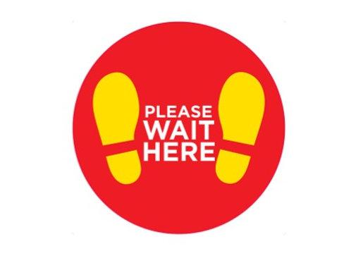 Please Wait Here Interior Floor Disc - From £8.45 ex VAT