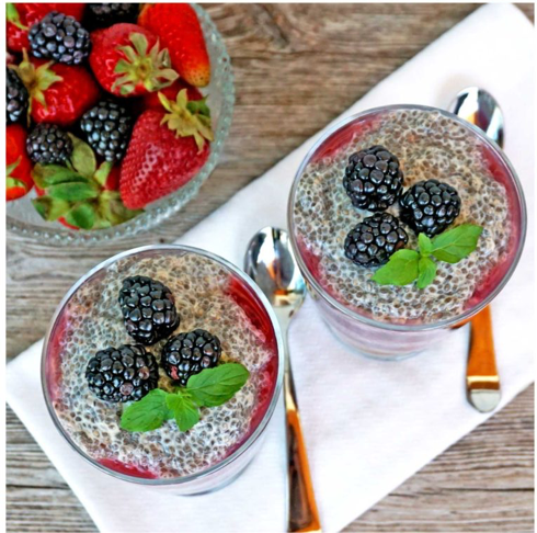 Berry Chia Smoothie With Cacao Drizzle