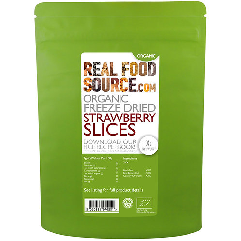 RealFoodSource - Organic Freeze Dried Strawberry Slices (100g)