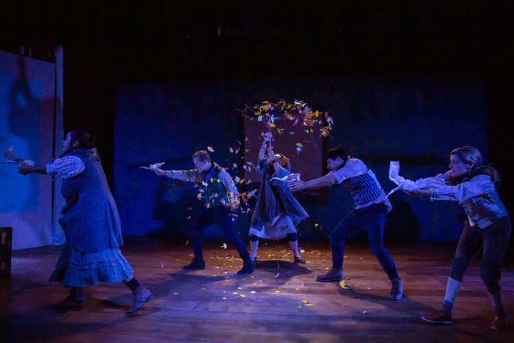 Featuring company members Seth Rosenke and Melissa Carter (background); and cast members Jordanna Hernandez, Niusha Nawab, and Emily Sucher