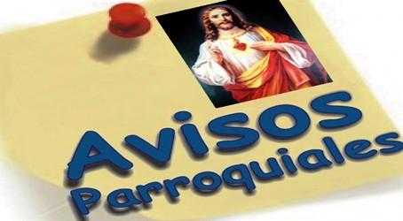AVISOS PARROQUIALES 30-05-2021