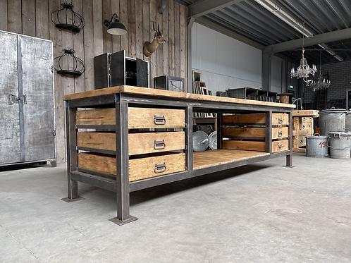 Industriële houten werkbank XXL