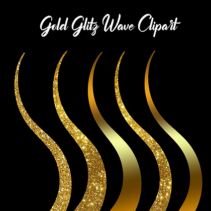 Gold Glitz Wave Clipart