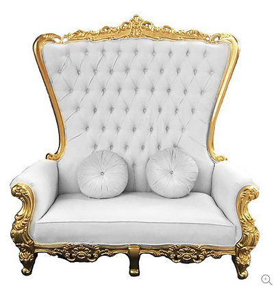 Double High Back Chair Queen Throne in White Leather and Gold Foil Chair Rental