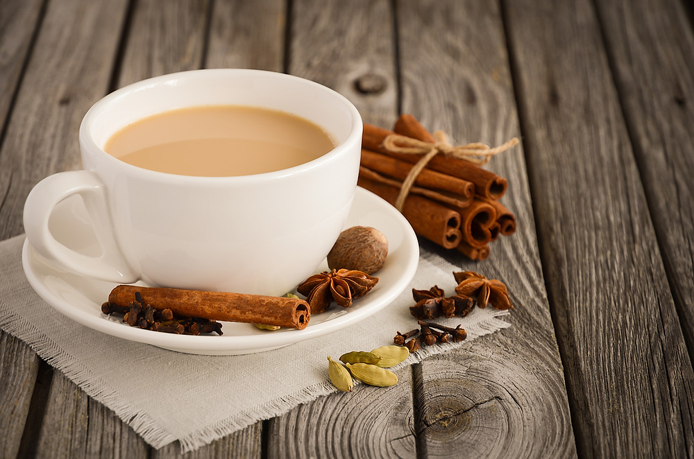 This is a picture of a cup of Sweet Masala Chai made with Moji's Sweet Masala