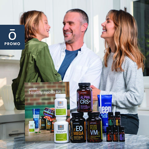 Family with essential oil kit