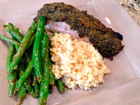 Sunday supper: pesto-crusted salmon