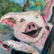 Piggie and the pinwheels SOLD