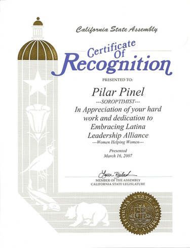 2007 Certificate of Recognition Soroptim