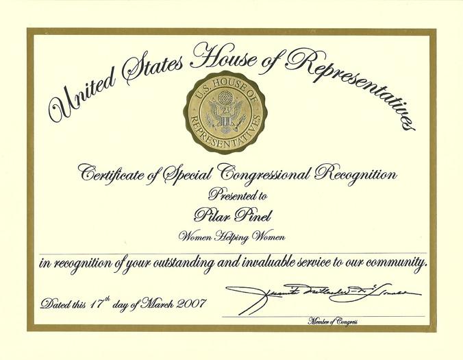 2007 Certificate of Special Congressiona