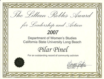 2007 The Lillian Robles Award for Leader