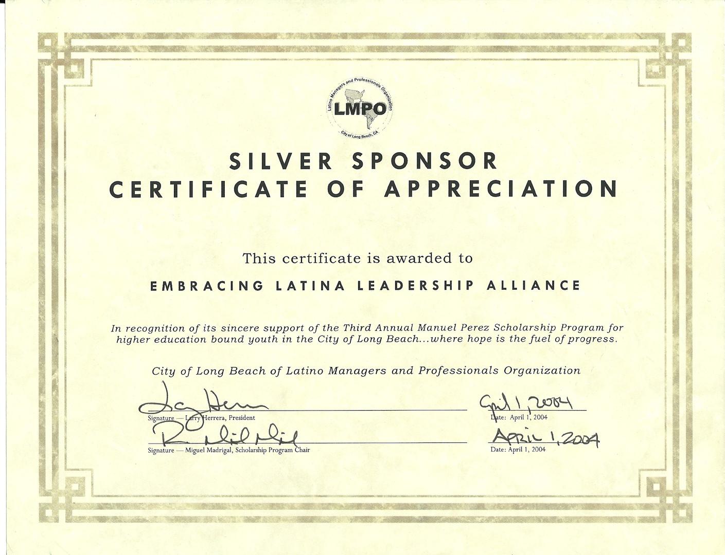 2004 Silver Sponsor Certificate of Appre