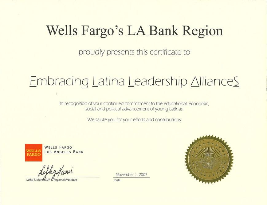 2007 Wells Fargo_s LA Bank Region Award
