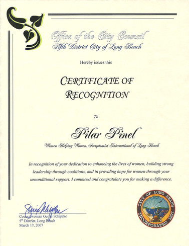 2007 Certificate of Recognition Women He