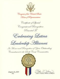 2009 Certificate of Special Congressiona