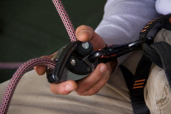 Detalhe mão de escalador