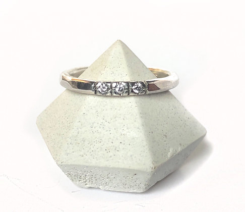 3 Diamond Sterling Silver Ring