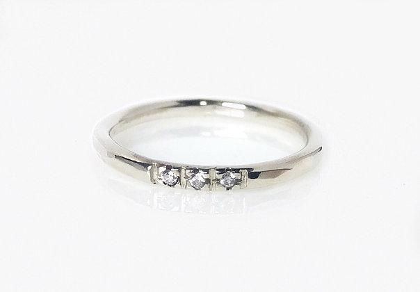 3 Diamond Sterling Silver Ring