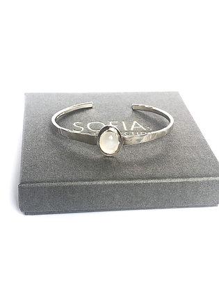 White Moonstone Cuff Bracelet
