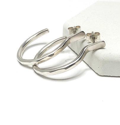 Sterling Silver Stud Hoop Earrings