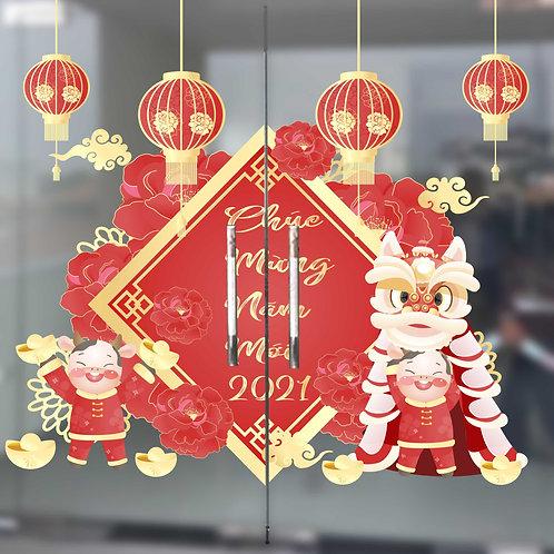 decal dán kính tết mừng năm mới