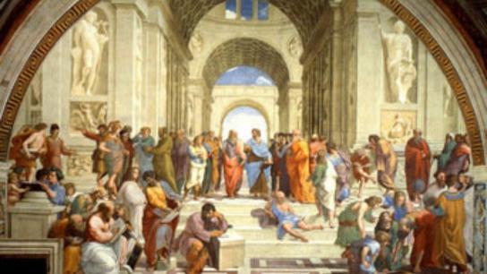 'La escuela de Atenas', pintada por Rafael a principios del siglo XVI muestra a los filósofos, científicos y matemáticos de la época clásica. En el centro Platón junto a Aristóteles.  Propias