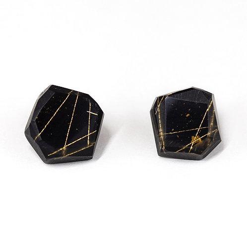 Black Resin Stud Earrings