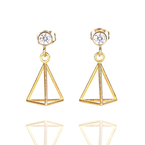 3mm Cubic Zirconia Triangle Drop Earrings