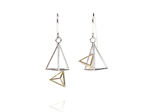 Double Triangular Pyramid Dangle Earrings/ Sterling and Gold