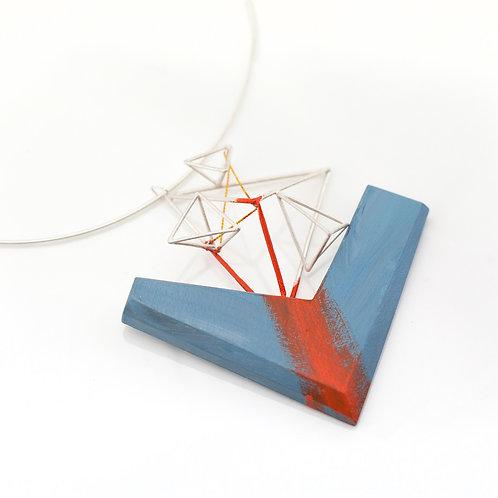 Orange Brush Pattern on Wood Necklace