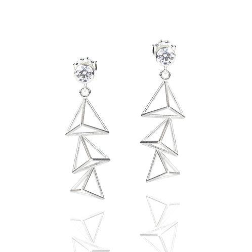 Cubic Zirconia Triple Triangle Drop Earrings