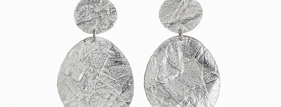 Large Double Disc Dangle Earrings