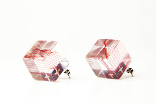 """Sterling silver, resin, and silk thread 1.8"""" x 1.8"""" x 1.8"""""""