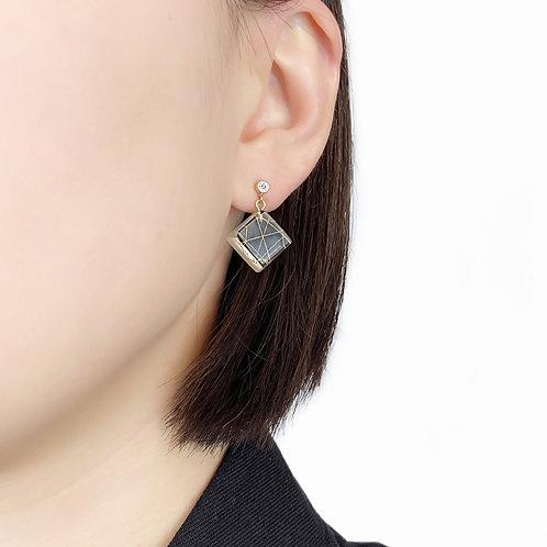 Cubic Zirconia Square Resin Drop Earrings