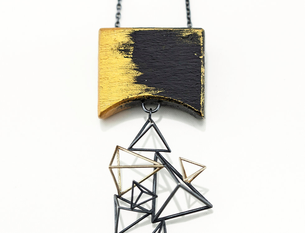 Wood with Dangly-Triangles Necklace