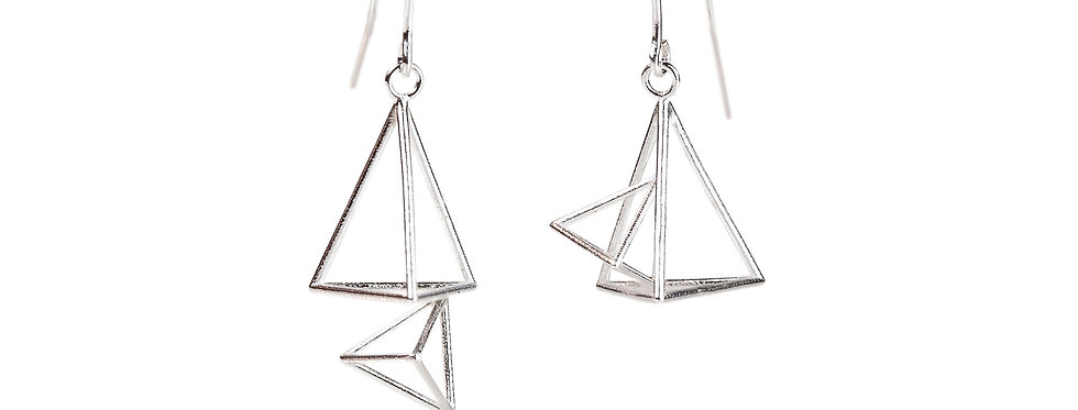 Double Triangular Pyramid Dangle Earrings
