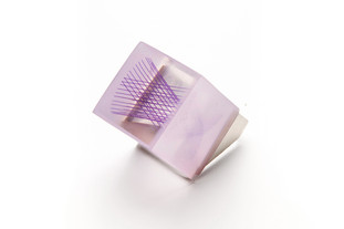 """Sterling silver, resin, and silk thread 1"""" x 1"""" x 1.75"""""""