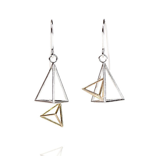Double Triangle Dangle Earrings in Silver and Gold