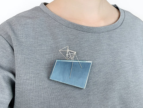 Blue Wood Brooch with Triple Triangles