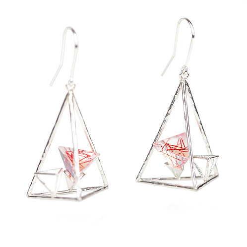 Triangle Dangle Earrings with Resin