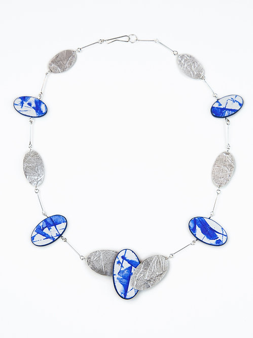Blue and Blur Wood Necklace