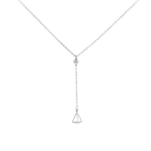 Cubic Zirconia Lariat Necklace with Triangle in Sterling Silver