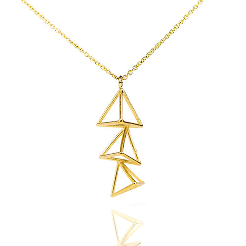 Small Vertical Triple Triangle Necklace in Vermeil/Silver