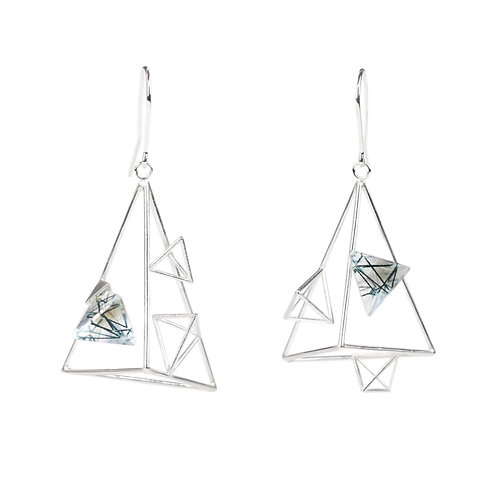 Asymmetric Triangle Dangle Earrings with Resin