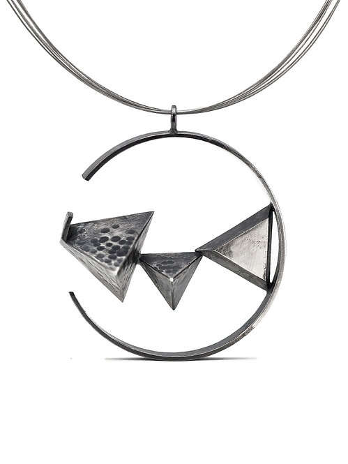 Oxidized Circled Triangles Necklace