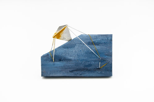 """""""Binding"""" Blue Brooch with Triangle"""