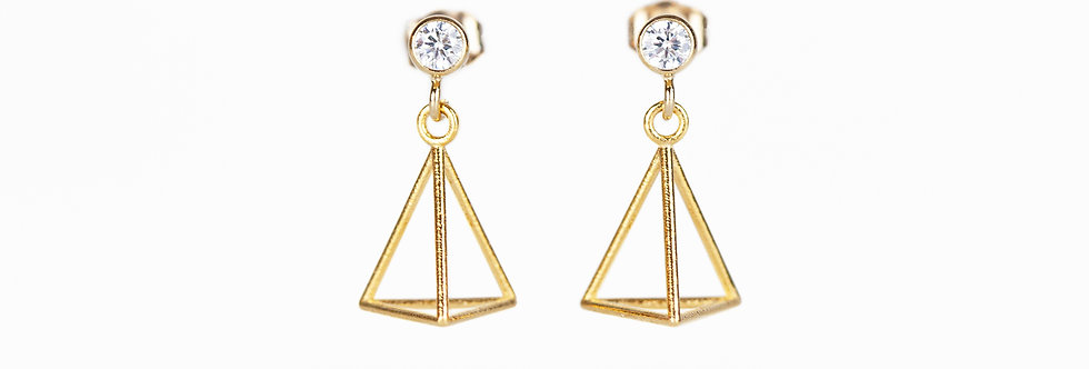 Cubic Zirconia Triangle Drop Earrings